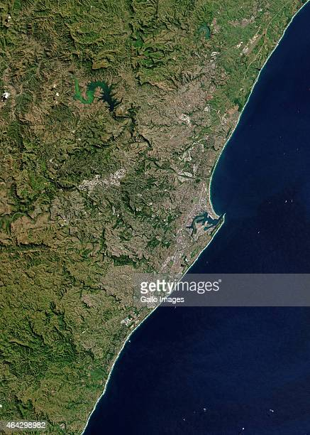 A Natural satellite view of Durban on April 26 2014 in Durban South Africa Durban is the largest city of the KwaZuluNatal province and is located on...