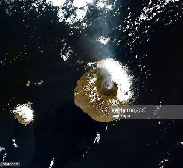 A Natural satellite view of Pico do Fogo volcano on November 24 2014 in Fogo Cape Verde Pico do Fogo volcano erupted on 23 November 2014