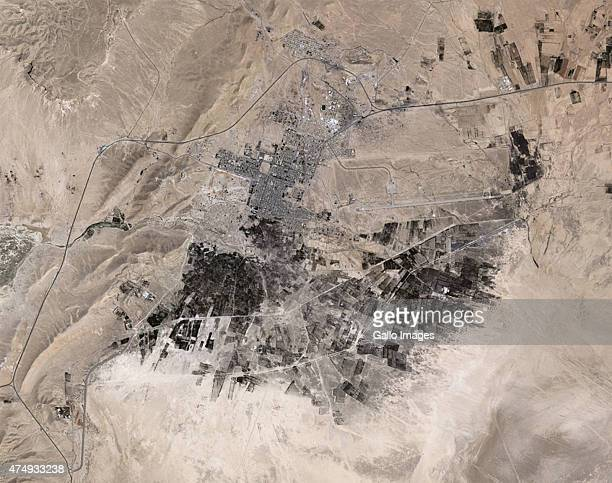 A Natural satellite view of the ancient city of Palmyra on May 16 2015 in Palmyra Syria Palmyra is located in Homs Governorate in Syria It was...