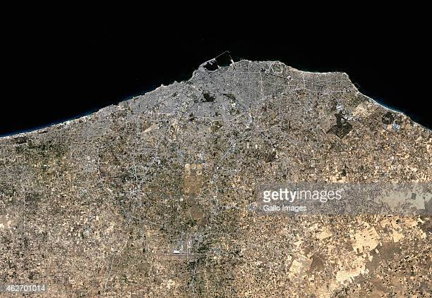 A Natural satellite view of Tripoli on November 21 2014 in Tripoli Libya Tripoli is the capital and largest city of Libya and it lies in the...