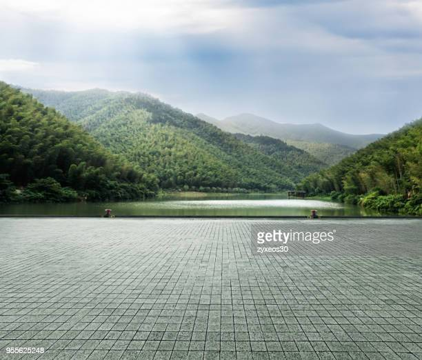 natural scenery and dock in zhejiang province, china. - lago - fotografias e filmes do acervo