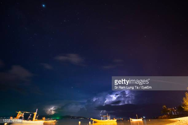 natural scenery, sea, mountains and lightning phenomenon in thailand. - light natural phenomenon stock pictures, royalty-free photos & images