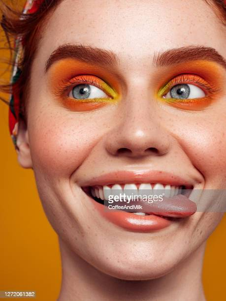 natural tongue open mouth. bright make-up - eye liner stock pictures, royalty-free photos & images