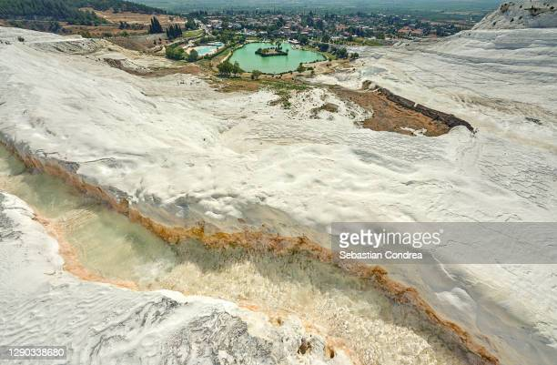 natural view on travertine pools and terraces in pamukkale. cotton castle in southwestern turkey - royal tour stock pictures, royalty-free photos & images