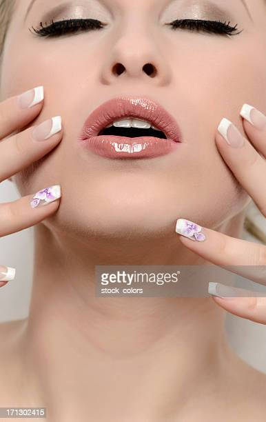 natural woman - french manicure stock photos and pictures