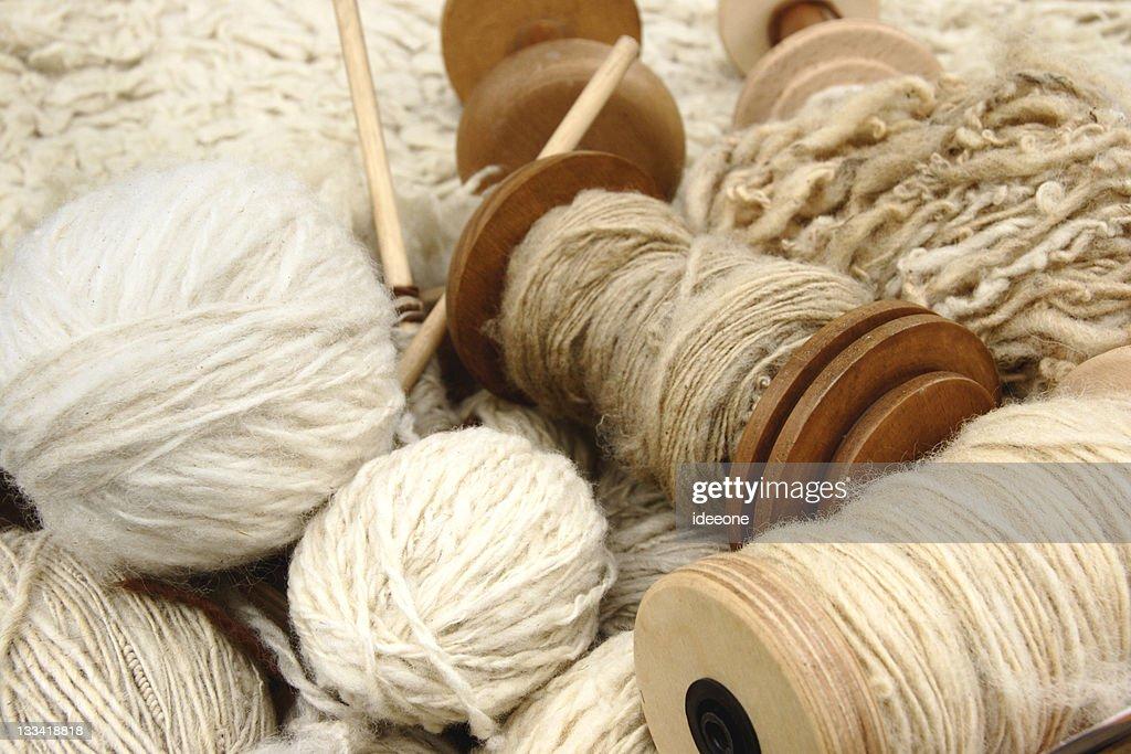 Natural wool yarns : Stock Photo
