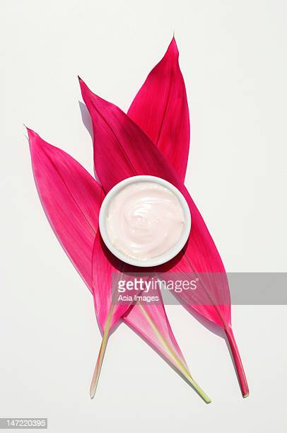 Natural yogurt facial on red tropical leaves