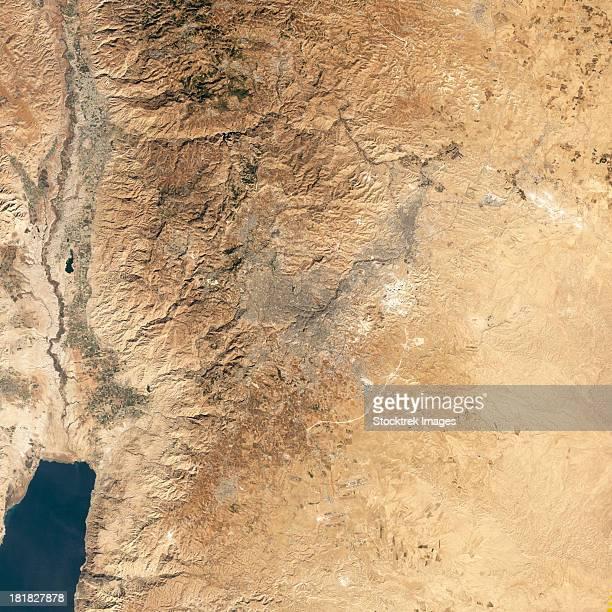 Natural-color satellite view of Amman, Jordan.