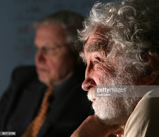 Naturalist and broadcaster Sir David Attenborough and Professor David Bellamy Chief Trustee of Butterfly World Trust listen to the unveiling of plans...