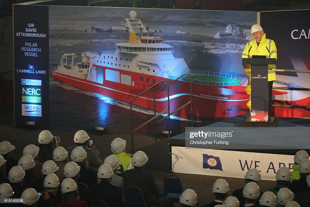 Naturalist Sir David Attenborough addresses the audience during the keel-laying ceremony of the new polar research ship for Britain, RRS Sir David Attenborough, which is named after him, at Cammell Laird shipyard, on October 17, 2016 in Birkenhead, England. World-renowned naturalist and broadcaster Sir David Attenborough initiated the lifting of the first block. The RRS Sir David Attenborough is being built by Cammell Laird and operated by British Antarctic Survey. The new research ship will be one of the most advanced in the world. The keel-laying ceremony is a maritime tradition said to bring luck to the ship during her construction and to the captain and crew during her life.