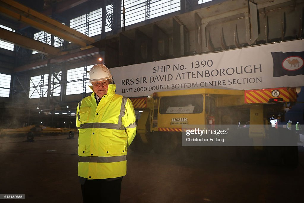 Naturalist Sir David Attenborough poses before the keel-laying ceremony of the new polar research ship for Britain, RRS Sir David Attenborough, which is named after him, at Cammell Laird shipyard, on October 17, 2016 in Birkenhead, England. World-renowned naturalist and broadcaster Sir David Attenborough initiated the lifting of the first block. The RRS Sir David Attenborough is being built by Cammell Laird and operated by British Antarctic Survey. The new research ship will be one of the most advanced in the world. The keel-laying ceremony is a maritime tradition said to bring luck to the ship during her construction and to the captain and crew during her life.
