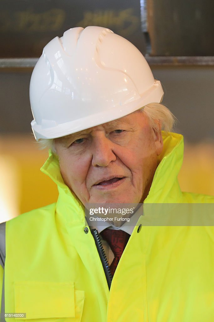 Naturalist Sir David Attenborough poses during the keel-laying ceremony of the new polar research ship for Britain, RRS Sir David Attenborough, which is named after him, at Cammell Laird shipyard, on October 17, 2016 in Birkenhead, England. World-renowned naturalist and broadcaster Sir David Attenborough initiated the lifting of the first block. The RRS Sir David Attenborough is being built by Cammell Laird and operated by British Antarctic Survey. The new research ship will be one of the most advanced in the world. The keel-laying ceremony is a maritime tradition said to bring luck to the ship during her construction and to the captain and crew during her life.