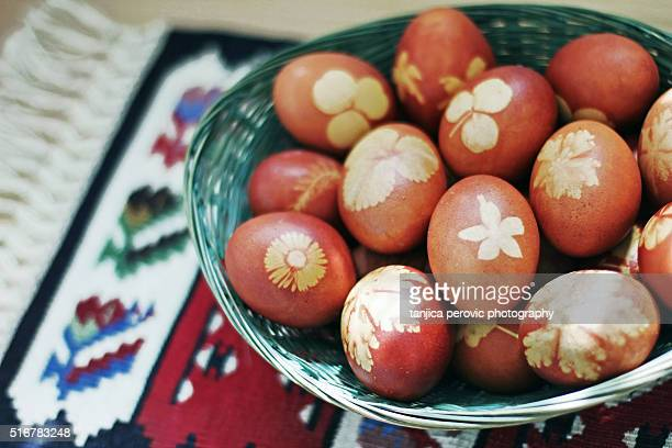 Naturally Dyed Easter Eggs in Basket