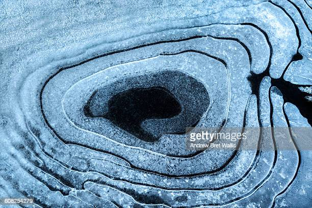 Naturally formed circular patterns in pond ice.