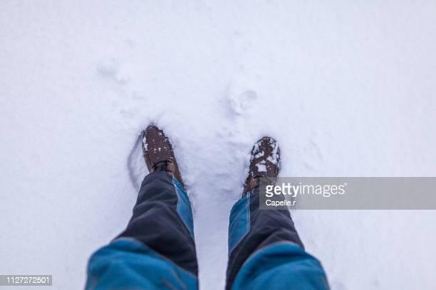nature - avoir les pieds dans la neige - personne humaine stock-fotos und bilder