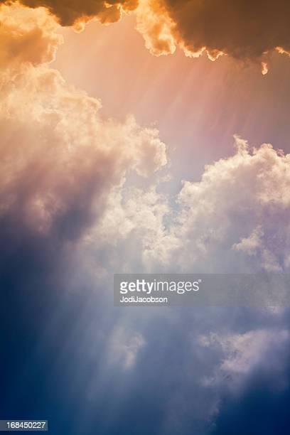 Nature background: Colorful setting sunrays