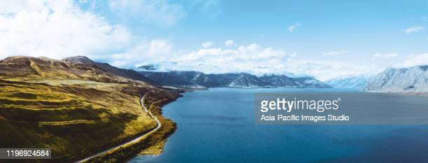 nature landscape, lake hawea, south island new zealand. - whangarei heads stock pictures, royalty-free photos & images