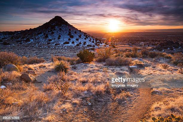 nature landscape recreation trail - sandia mountains stock pictures, royalty-free photos & images