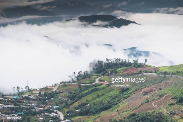 naturlandschaft landschaft landschaftlich aufsonnenaufgang und nebel auf bergblick im norden bei phu thap boek, phetchaboon thai thailand - boek stock-fotos und bilder