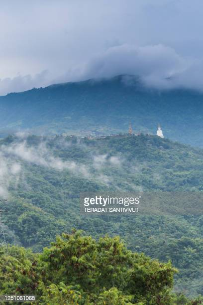 nature landscape scenic sunrise and mist on mountain view at the north at phu thap boek, phetchaboon thai thailand - boek photos et images de collection