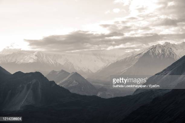nature landscape view of high mountains in karakoram range in hunza valley, pakistan. - valley stock pictures, royalty-free photos & images