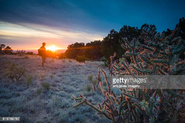 nature man dramatic landscape sunlight