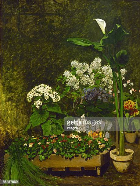 Nature morte, fleurs de printemps dans la serre - Still-life, spring flowers in a conservatory. Canvas, 130 x 98,4 cm. Formerly in the collection of...