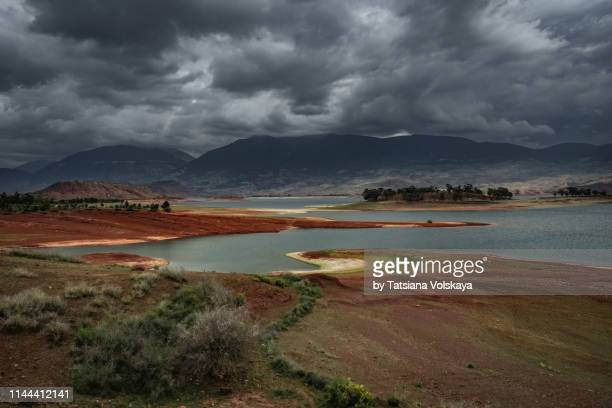 Nature panorama with Storm in the mountains near the lake, Morocco, Africa