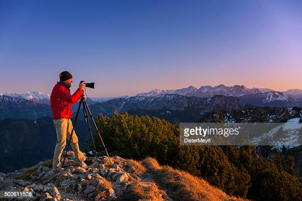 Nature photographer in the alps