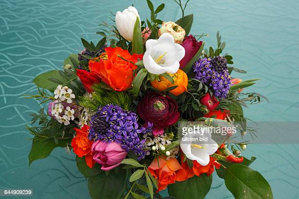 nature plants flowers bunch of flowers birthday bouquet red roses tulips buttercups ranunculus Canterbury bells Campanula