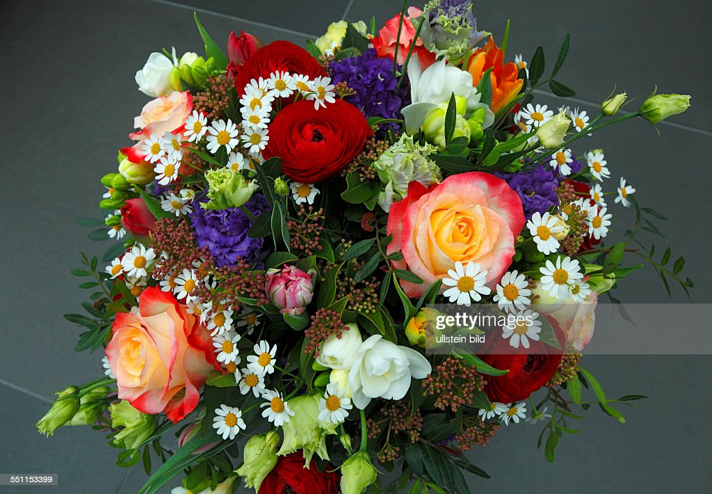 Bunch of flowers, birthday bouquet, roses, tulips, freesias ...