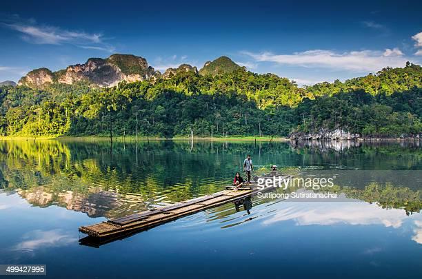 Nature reflexion in Ratchaprapa dam Suratthani, Thailand.