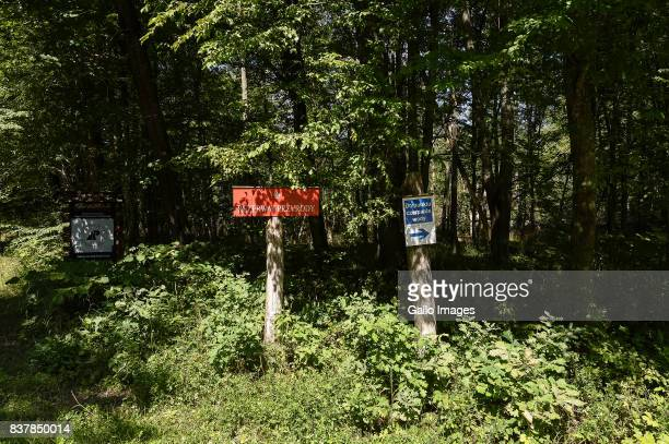 Nature reserve sign seen on August 09 2017 near Bialowieza Poland The Bialowieza National Park is best known for the protection of the Bialowieza...