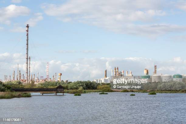 nature reserve with refinery on background - nature reserve stock pictures, royalty-free photos & images