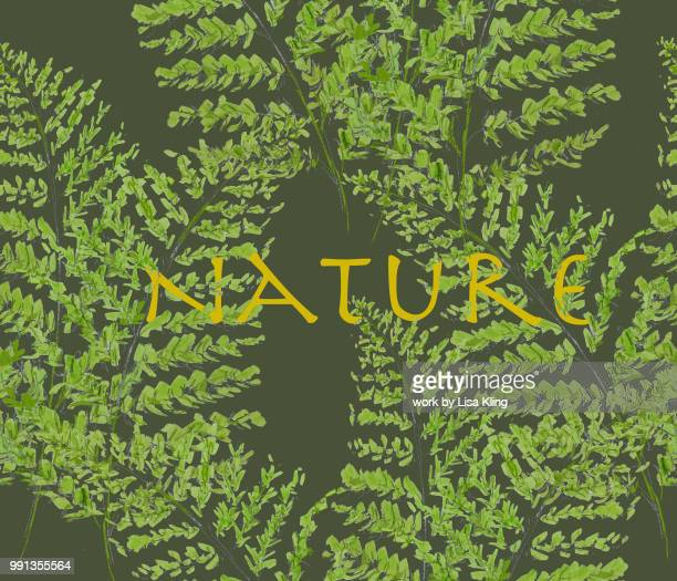 Nature Typography in Feathery Fern Woodland