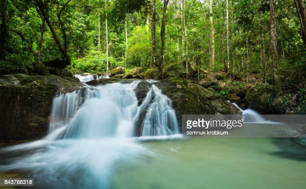 nature waterfall in rainy season - wasserform stock-fotos und bilder