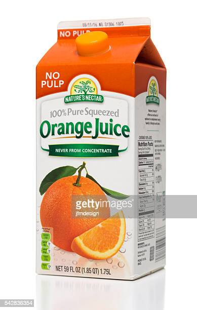 nature's nectar pure squeezed orange juice carton side - juice carton stock photos and pictures