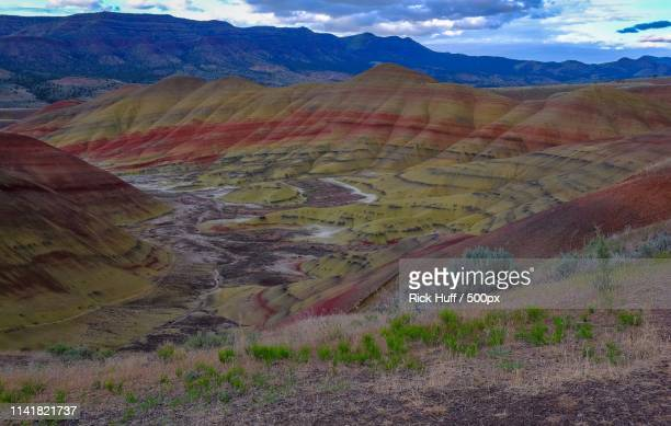 nature's palette - painted hills stock pictures, royalty-free photos & images