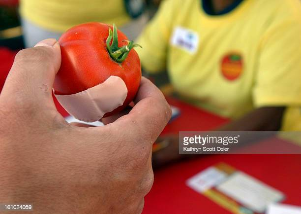 DENVER CO AUGUST 14 2004 NatureSweet Tomato Challenge a homegrown tomatogrowing skill contest held at the King Soopers store at 2750 S Colorado Blvd...