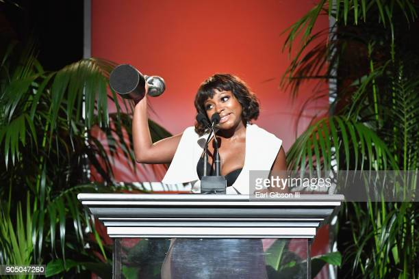 Naturi Naughton accepts award for Outstanding Supporting Acress in a Drama at the 49th NAACP Image Awards NonTelevised Awards Dinner at the Pasadena...
