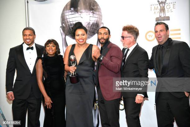 Naturi Naughton Courtney Kemp Agboh Omari Hardwick Mark Canton and Randall Emmett of 'Power' winner of Outstanding Drama Series pose in the press...