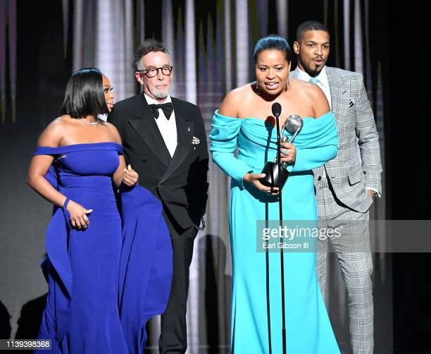 Naturi Naughton Mark Canton Courtney A Kemp and Michael J Ferguson accept the Outstanding Drama Series for 'Power' onstage during the 50th NAACP...