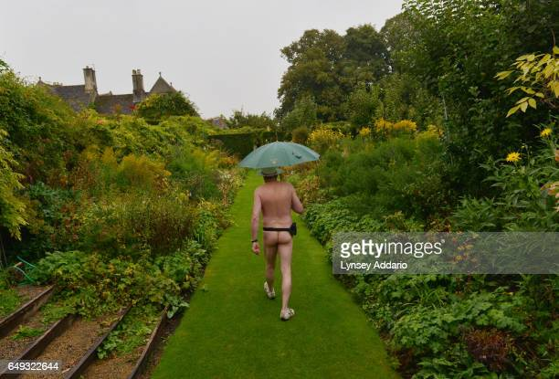 Naturist Paul Pride attends Clothes Optional Day in the Abbey House Gardens in Malmesbury England Sept 23 2012 During the summer months the Abbey...
