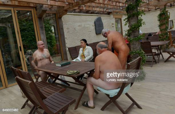 Naturists Barry and Terry Graanop have lunch on Clothes Optional Day in the Abbey House Gardens in Malmesbury England Sept 23 2012 During the summer...
