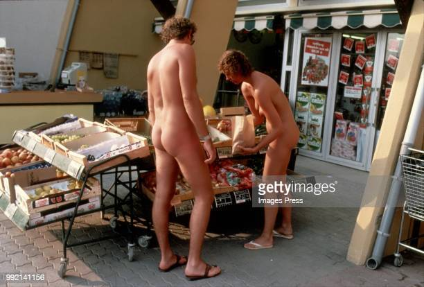 Naturists grocery shopping in Cap D'Agde circa 1980 in Agde France