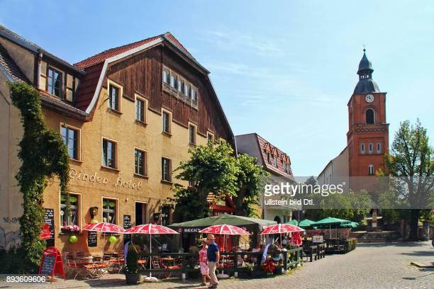 Naturpark Maerkische Schweiz / Stadt Buckow / Markt mit Linden Hotel und Stadtkirche / Urlaub in Brandenburg