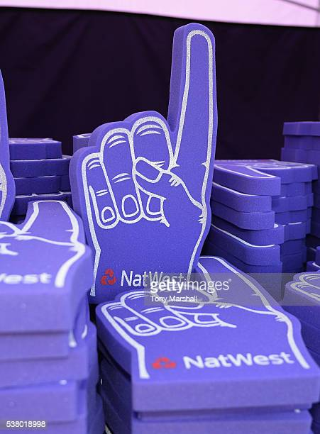 Natwest foam fingers during the NatWest T20 Blast match between Worcestershire Rapids and Yorkshire Vikings at New Road on June 2 2016 in Worcester...