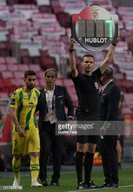 Natxo Gonzalez coach of CD Tondela walks with Antonio Xavier of CD Tondela in a substitution during the Liga NOS match between SL Benfica and CD...