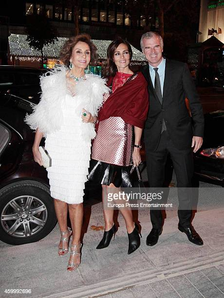 Naty Abascal Adriana Abacal and Emmanuel Schreder attend the opening of Louis Vuitton store on December 1 2014 in Madrid Spain