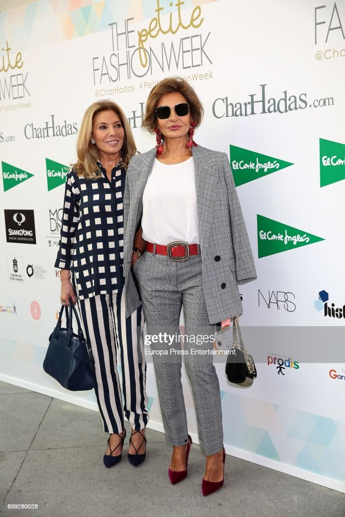 Naty Abascal (R) and Maribel Yebenes attend 'The Petite Fashion Week' Photocall at Cibeles Palace on October 6, 2017 in Madrid, Spain.